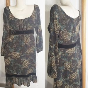 LOFT Boho Peasant Dress Brown Velvet floral 10P